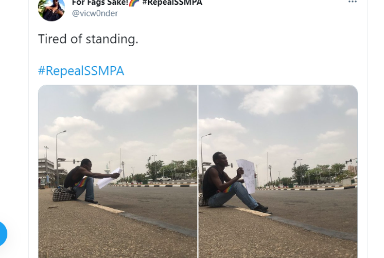 Screenshot of @vicw0nder's tweet sitting outside the National Assembly in Nigeria protesting their same-sex marriage ban.