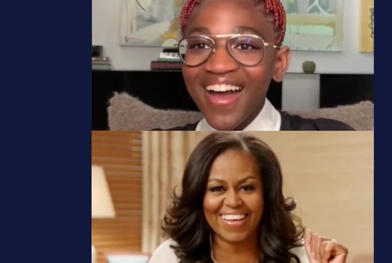 Zaya Wade (top) and Michelle Obama