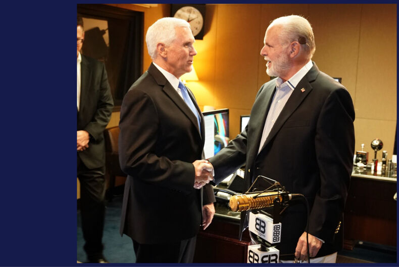 Mike Pence (left) and Rush Limbaugh after Pence appeared on his radio show