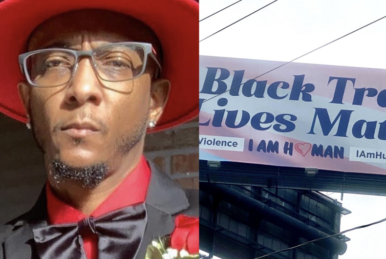 Alex Santiago (left) and the I Am Human Foundation's Black Trans Lives Matter billboards featured in Atlanta