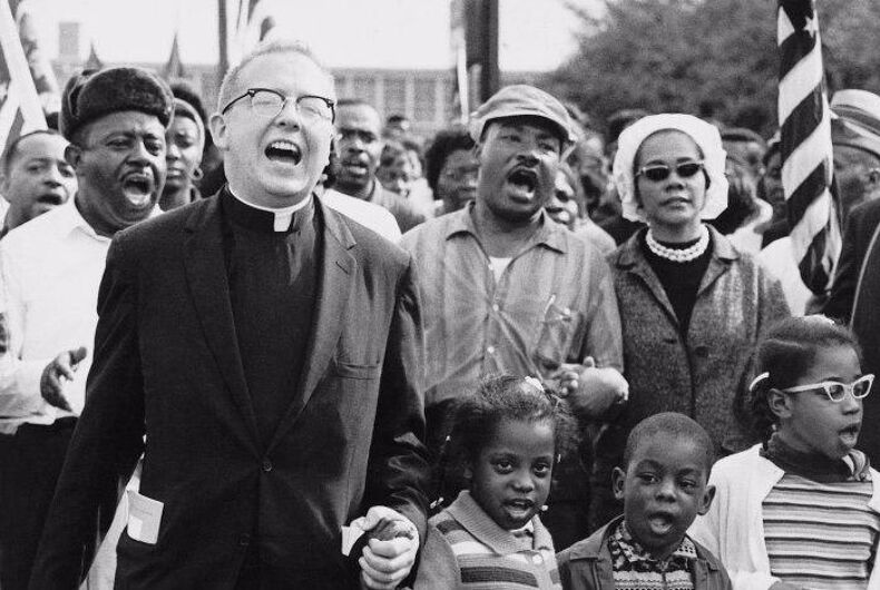 The black and white photo is of the Abernathy Family marching with Martin Luther King and Coretta Scott King on Day 4 of the Selma to Montgomery March for the Right to Vote.
