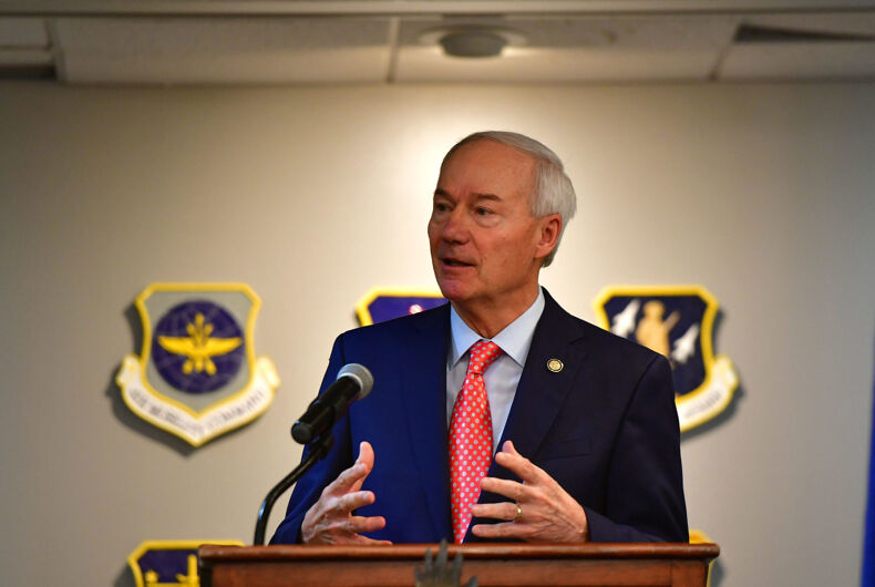 Gov. Asa Hutchinson speaks to Team Little Rock members during a quarterly community council meeting at Little Rock Air Force Base, Arkansas, Aug. 13, 2019.