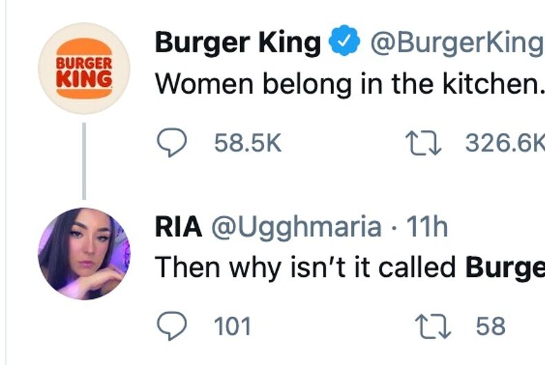 Burger King UK's awkward tweet on International Women's Day