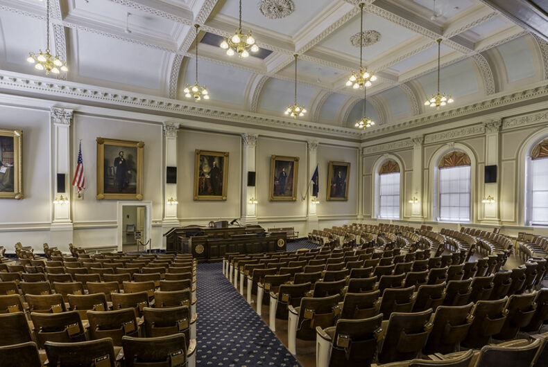 Rep's Hall, or House of Representatives chamber of the New Hampshire State House on July 28, 2015 in Concord, New Hampshire