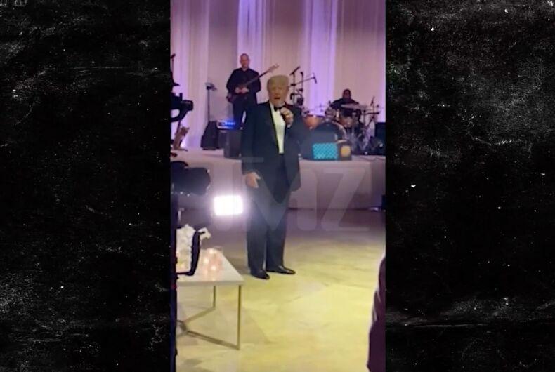 Former president Donald Trump crashed a wedding reception at his Mar-a-Lago resort