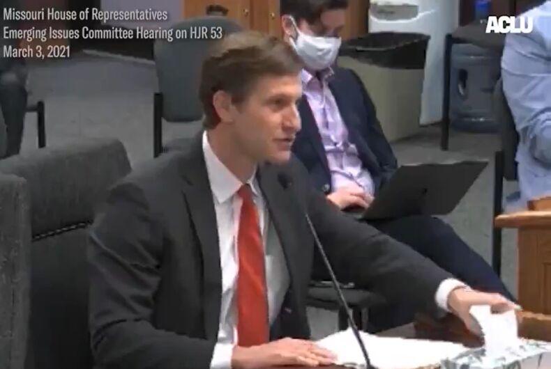 Brandon Boulware speaking before the Missouri House
