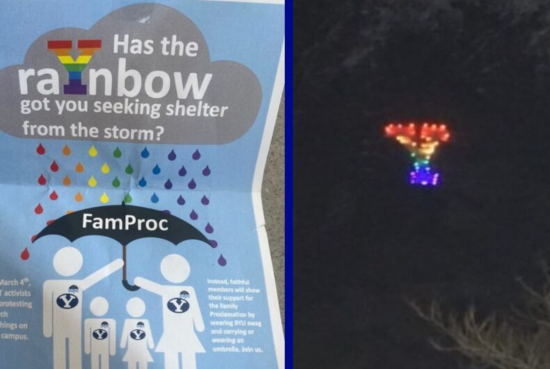 The anti-LGBTQ flyer/The Y lit up in rainbow colors by pro-LGBTQ protestors