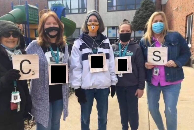 Teachers at the Christian School District spelling out the slur.