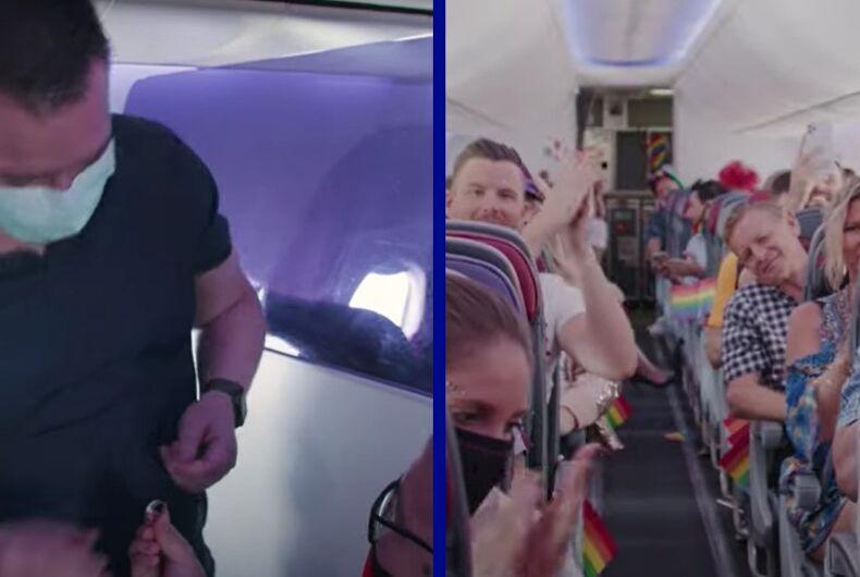 Chris Lai proposing to Cedric Thiery on the flight