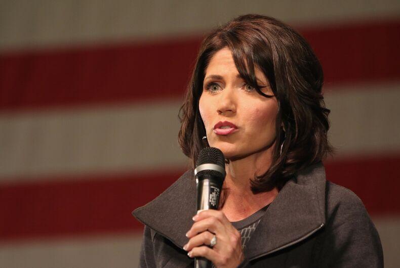 SIOUX CENTER, IOWA - JANUARY 16, 2016: U.S. Representative Kristi Noem speaks at a Republican political rally in Iowa.