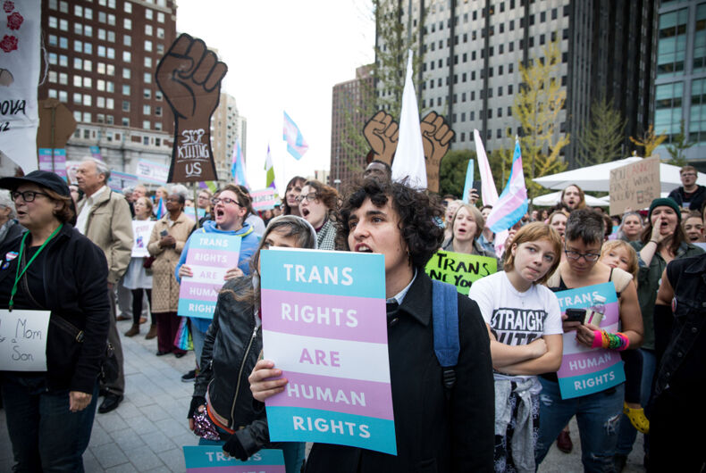 Protestors demonstrate against the Trump administration's attempt to write transgender identity out of the law in 2018 in Philadelphia.