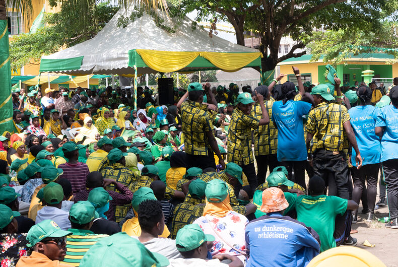 Stone town, Zanzibar / Tanzania - July 15, 2020: Waiting for CCM presidential candidate Hussein Ali Mwinyi at CCM headquarters to greet supporters for the first time before Zanzibar 2020 elections.