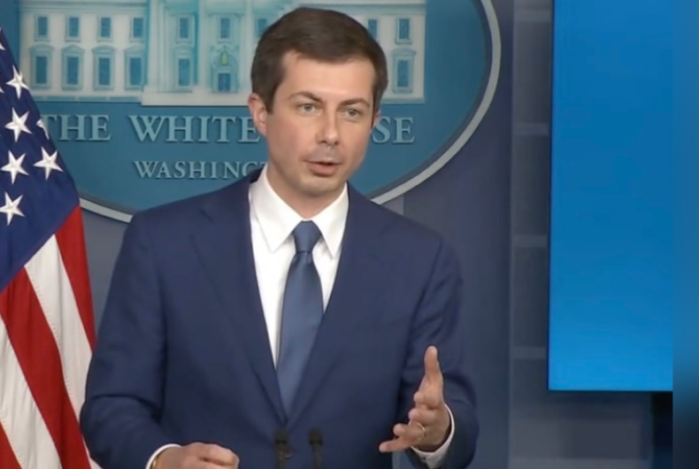Pete Buttigieg speaking from the White House's James S. Brady Press Briefing Room.