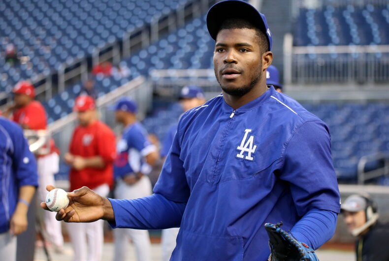 Dodgers outfielder Yasiel Puig works out before NLDS Game 5 in 2016.