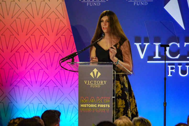 Virginia Delegate Danica Roem speaking at the Victory Fund National Champagne Brunch