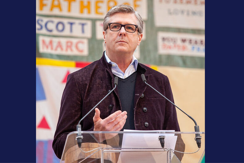 National Basketball Association executive Rick Welts speaks at the National AIDS Memorial on World AIDS Day 2019.