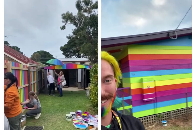 Mykey O'Halloran (right) documents as he and several community members paint his house and the exterior in rainbow colors.