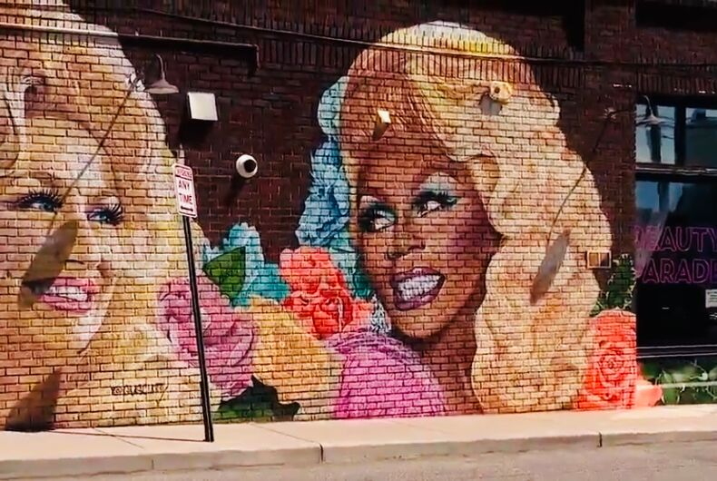 Dolly Parton and RuPaul in mural form on the Beauty Parade Salon in West Asheville, North Carolina