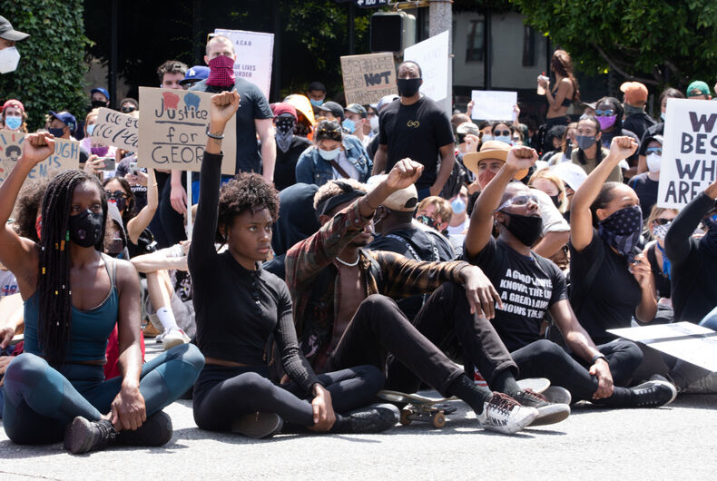 LOS ANGELES - MAY 30, 2020: Participants of protest march against police violence over the killing of George Floyd.