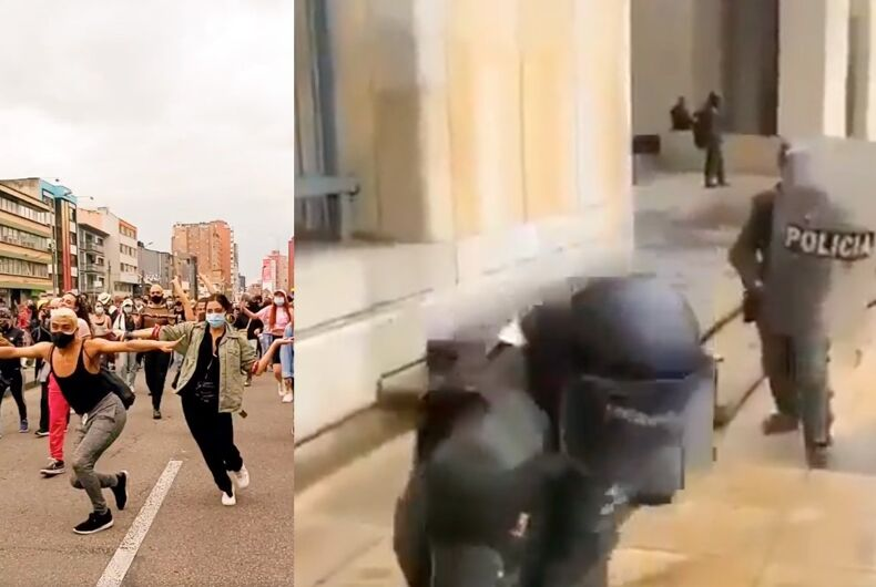Video posted online shows transgender women vogueing through the streets of Bogota before being met by the police.
