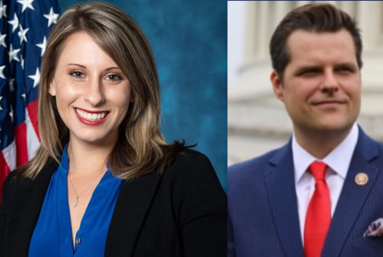 Former Rep. Katie Hill (left) and Rep. Matt Gaetz (right)
