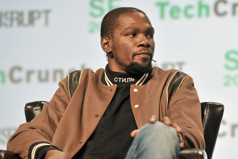 Kevin Durant speaks onstage during TechCrunch Disrupt SF 2017 at Pier 48 on September 19, 2017.