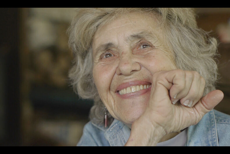 """A still of Sally Gearhart from the 2018 documentary, """"A Great Ride."""