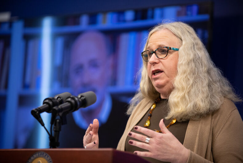 Dr. Rachel Levine speaking at a virtual press conference on March 20, 2020