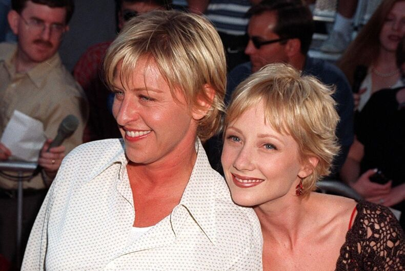 Ellen DeGeneres and Anne Heche at the 1999 premier of