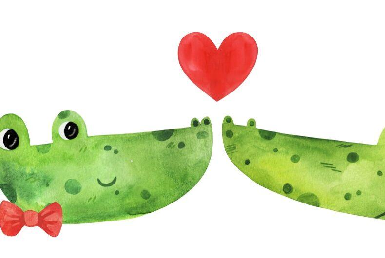 Gay crocodiles kissing, a drawing