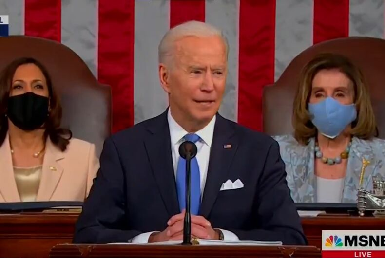 President Joe Biden addressed a joint session of Congress. The leaders of the Senate and House - Vice President Kamala Harris and Speaker Nancy Pelosi - sat behind him.