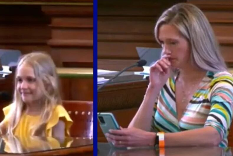 Kai Shappley (l) and Amber Briggle testified before the Texas legislature in support of trans rights