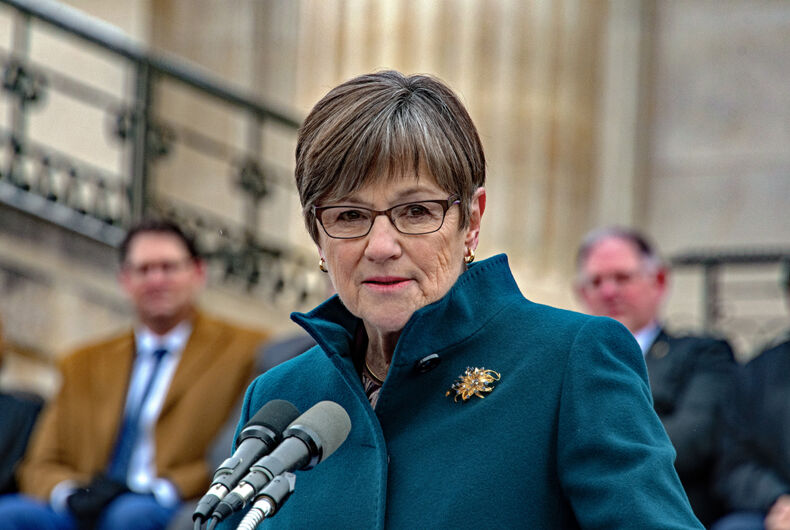 Topeka, Kansas - January 14, 2019: Democrat Governor Laura Kelly delivers her inaugural speech is front of the steps of the Kansas State Capitol building