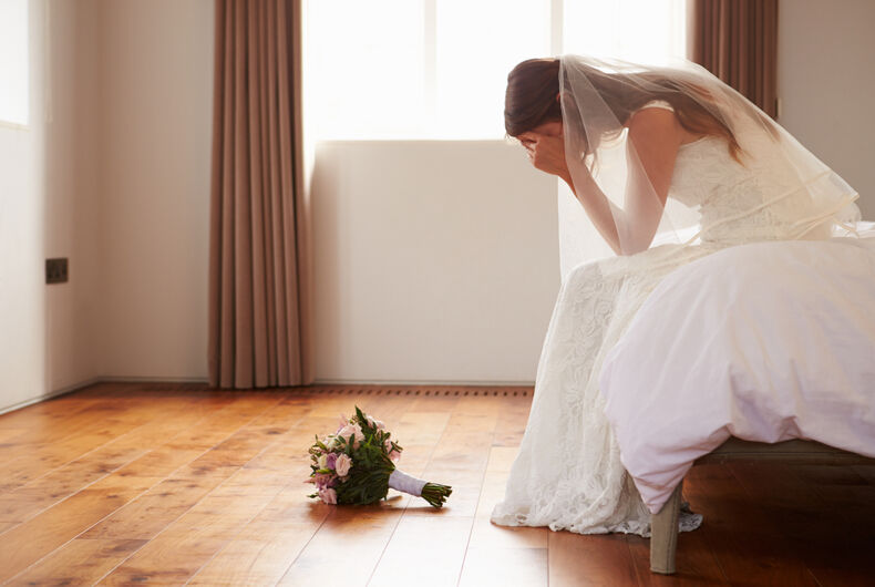 a sad bride after a wedding