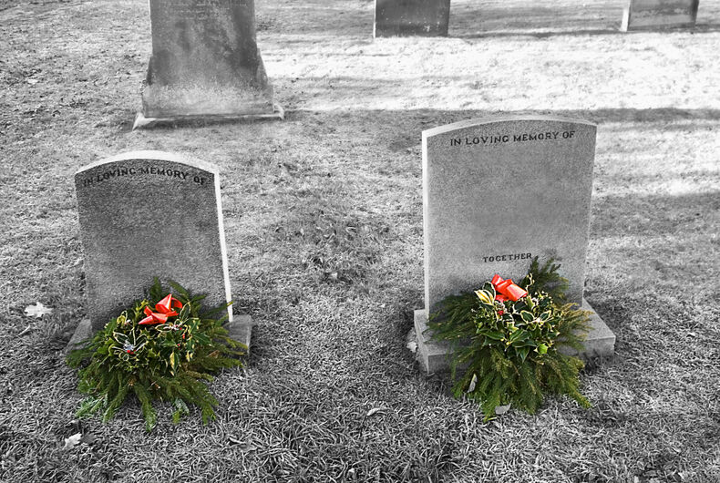 two tombstones