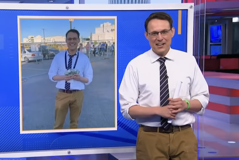 MSNBC analyst Steve Kornacki collecting his winnings after correctly predicting the winner of the 2021 Kentucky Derby