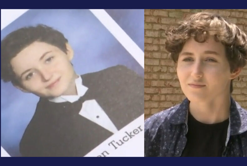 Soren Tucker's yearbook entry and photo (left) used his name, but the school claims the same can't be done for graduation.