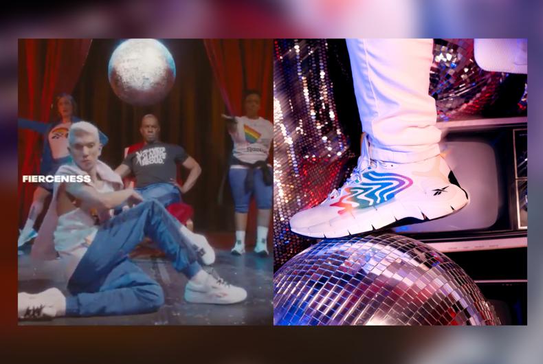 House of Ninja members (left) and the Reebok Zig Kinetica II sneakers (right)