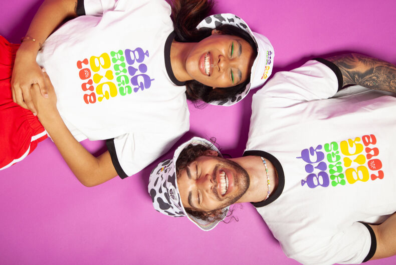 Two models wearing the Teletubbies Pride collection merchandise.
