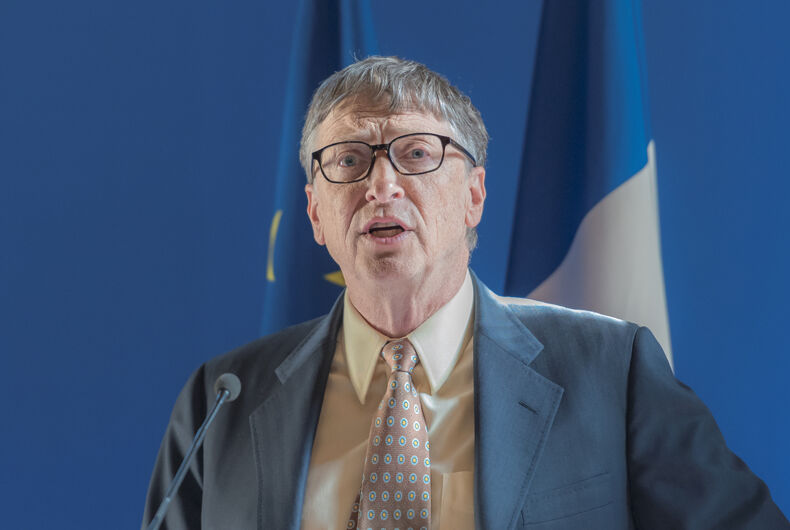 PARIS, FRANCE - JUNE 25, 2015 :Bill Gates speaks at the French Ministry of Foreign Affair in Paris.