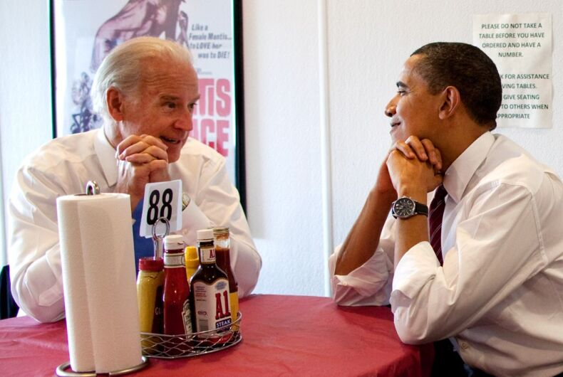 Joe Biden and Barack Obama visit Rays' Hell Burger in Arlington, VA, in 2009. Proof that he would sabotage chicken to promote burgers?