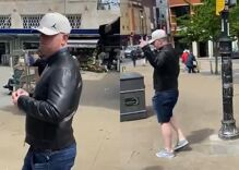 Gay couple confronts man who spit at them for holding hands in public
