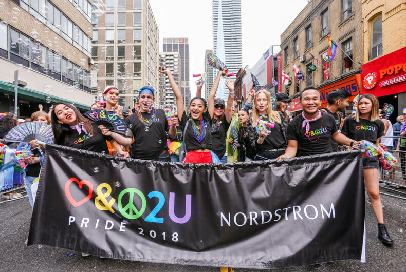 JUNE 24, 2018 - TORONTO, CANADA: Nordstrom employees march in the 2018 Toronto Pride Parade