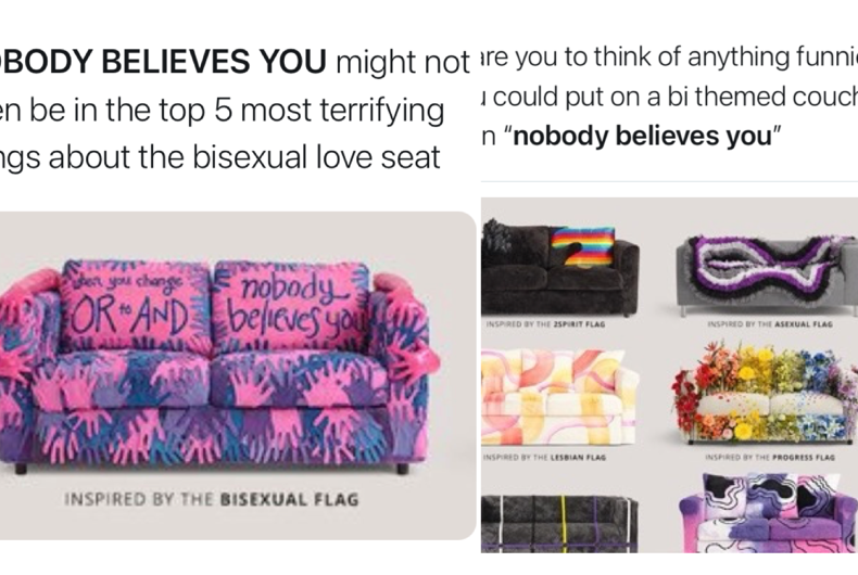 Out of all of IKEA's Pride-inspired ones, the bisexual flag-inspired loveseat design didn't go over well the most.