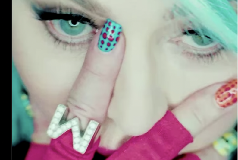 A screenshot from Madonna's new three-minute video