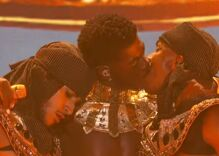 Lil Nas X steals the show with blue gown & red hot kiss at very queer BET Awards ceremony