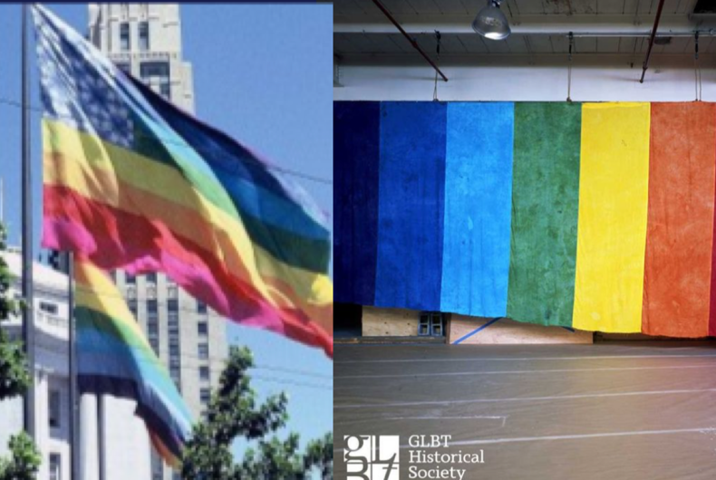 One part of the two original Pride flags created for the 1978 Gay Freedom Day Parade (left) has been recovered. It is now on display at the GLBT History Society Museum in San Francisco (right).