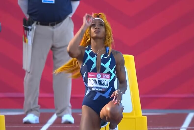 Sha'Carri Richardson preparing for the 100m race at the Olympics Trials on June 19, 2021.