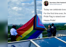 Interior Secretary raises the Pride flag for first time over the department's headquarters