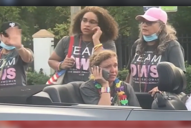 Rep. Debbie Wasserman Schultz (D-FL) on the phone after the incident at the Pride celebration.